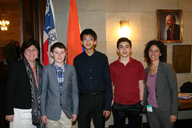 From left, Westchester County Legislator MaryJane Shimsky of Hastings, Alexander Crump, Victor Lue, William Graif and Edgemont High School Assistant Principal Eve Feuerstein at the April 27 meeting of the county Board of Legislators.
