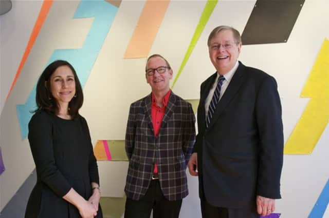 Bonnie Wattles, Franklin Street Works Executive Director, with artist Jon Campbell and Stamford Mayor David R. Martin (R) at a recent art opening at Franklin Street Works.
