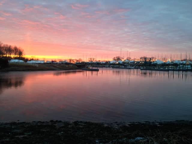 Norwalk Cove Marina in East Norwalk at sunrise.