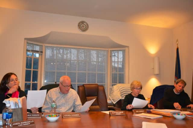 Pound Ridge Planning Board members at their April meeting.