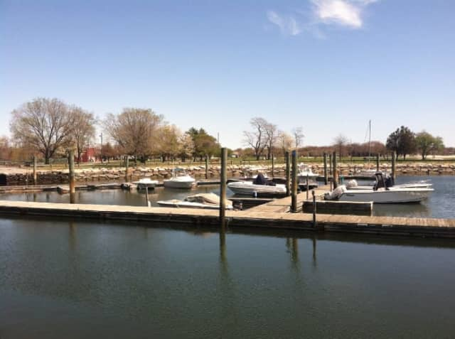 Boats at rest at the Cove Island Marina. Stamford Fire Department responded to a call Sunday afternoon for help from a boater trapped on a sinking boat in the waters off Cove Island.