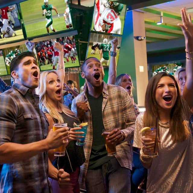 Fans can catch every game in high- resolution on any one of Dave & Buster's large HDTVs.