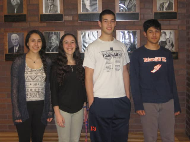 Briarcliff High School seniors (L-R) Christina Arroyo, Alexandra Linares, Nicholas Beninati and Sebastian Rojas have been honored by the National Hispanic Recognition Program for their academic achievements.