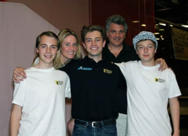 From left, Addison Albano, Kelly Albano, Ben Albano, Peter Albano, and Austen Albano recently raised $4,600 for Project Yellow Light.