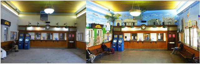 Mamaroneck artist Piero Manrique painted a series of murals at the New Rochelle Metro-North train station.