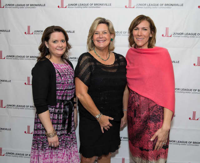 Erica Sevilla (JLB president), Ellen Lynch (president and CEO of The Food Bank for Westchester) and Sheridan Denfeld (JLB president- elect).