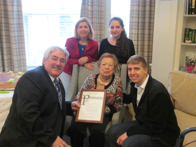 Tina DeRoma, front row, center, a resident of Tuckahoe's The Fountains at RiverVue, recently celebrated her 100th birthday.