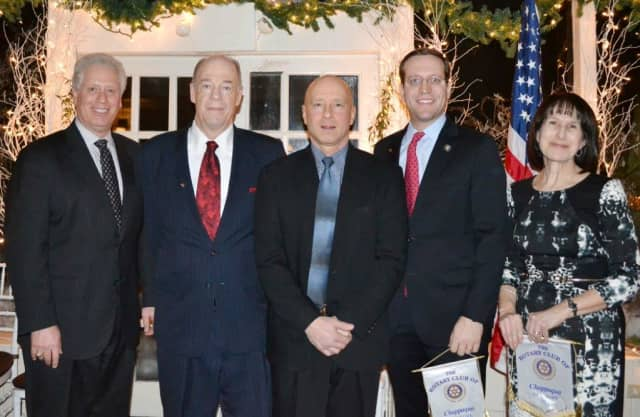 From left, Mike Kaplowitz, Dave Shields, Greg Santone, Doug Buchwald, and Elise Mottel at a Chappaqua Rotary Club''s Charter Night dinner. The Rotary Club will host another dinner March 5.