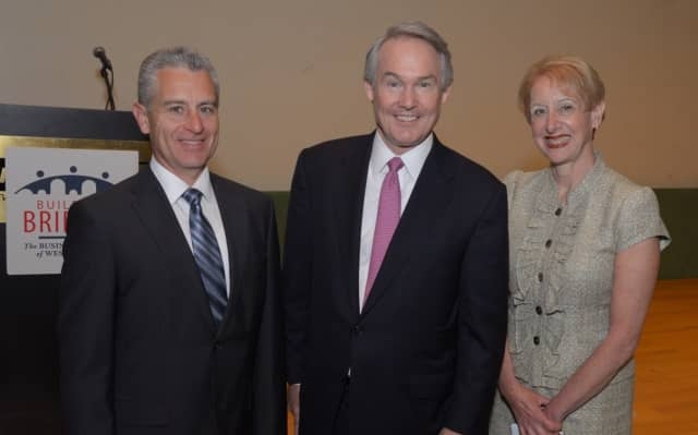 Anthony Justic, chairman of Business Council Board of Directors; William J. Mulrow, secretary to Gov. Andrew M. Cuomo; and Marsha Gordon, president and CEO of The Business Council of Westchester.