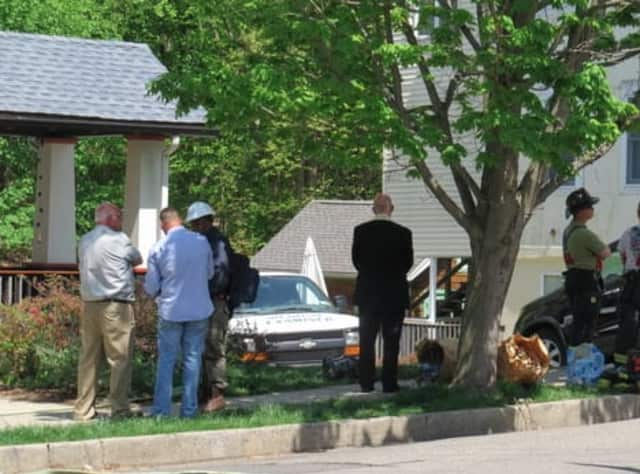 The medical examiner arriving at 65 Hillside Ave. in Hastings on Thursday afternoon.