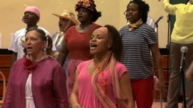 """Female inmates participating in the production of """"Amazing Grace"""" at the Bedford Correctional Facility."""