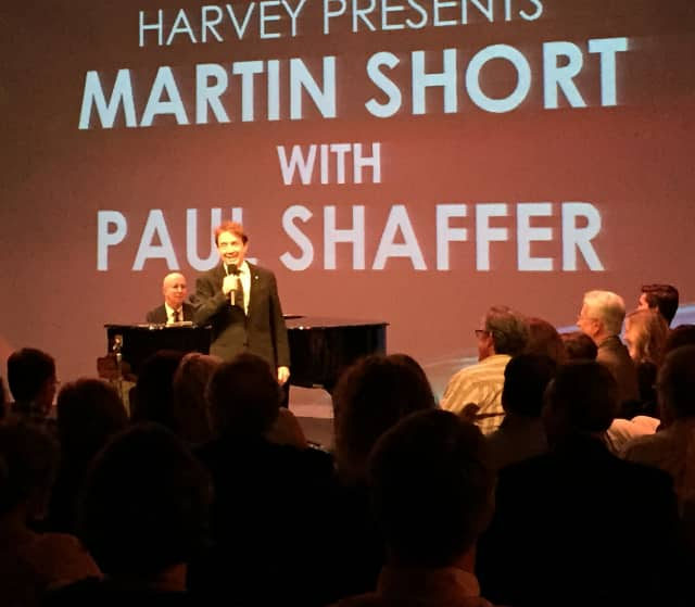 Martin Short, Paul Shaffer and Glenn Close entertained a crowd Friday night at The Harvey School.