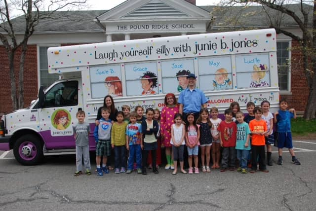 Jill Bresnick's first-grade class with the bus on May 6.