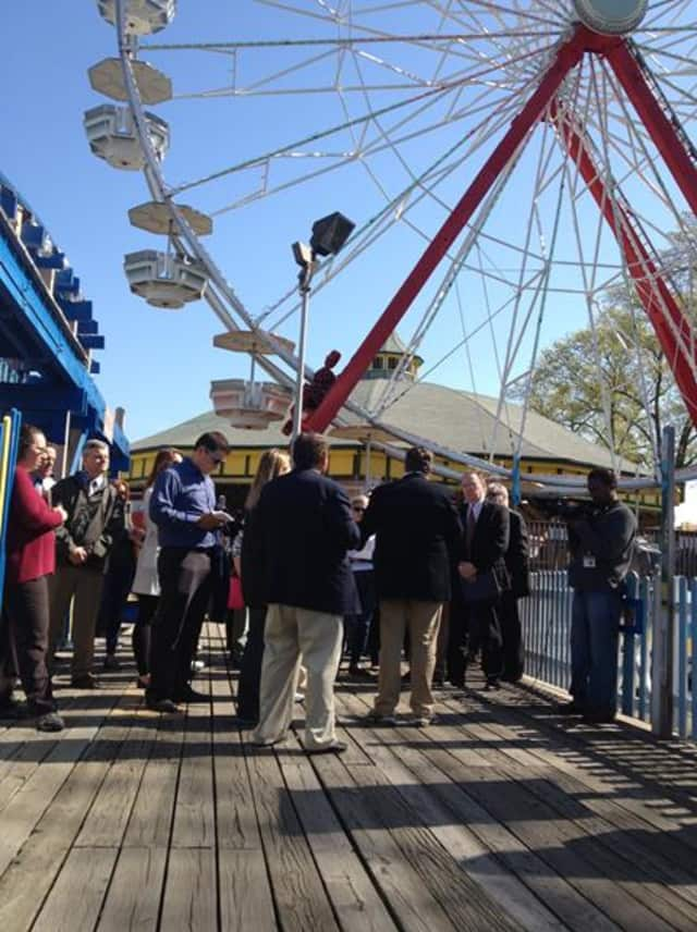 Representatives from Standard Amusements toured Rye Playland.