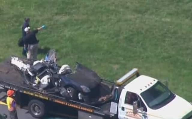 The 2004 Nissan Maxima involved in the Monday morning crash on the Taconic State Parkway.