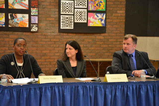 From left, Justine Marous, Colette Dow and Brian Sheerin at a recent candidates' forum.