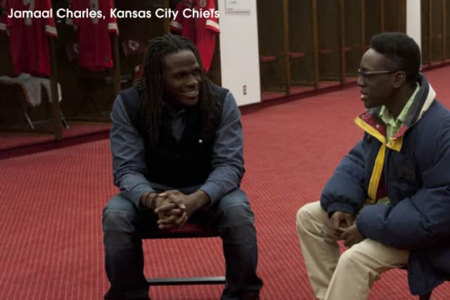 Kansas City Chiefs running back Jamal Charles is featured in a documentary, NFL Characters Unite.  The bullying documentary will be shown at the YMCA of White Plains on Thursday, May 21.