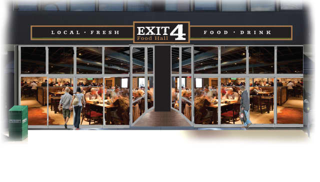 "Exit 4 Food Hall is a ""fresh-casual"" eatery made up of nine individual stations under one roof."