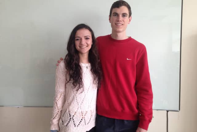 Ridgefield students Jennifer Schwartz and John Diorio.