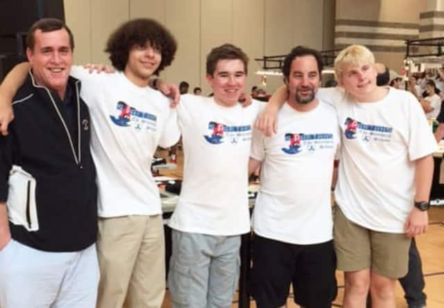Members of The Stanwich School's robotics team.