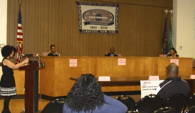 From left, Marla Peers, Felice Habersham-Harris, Dennis Rambaran, and Candice Wood at a recent school board candidates forum at Elmsford Village Hall. Peers moderated the forum.