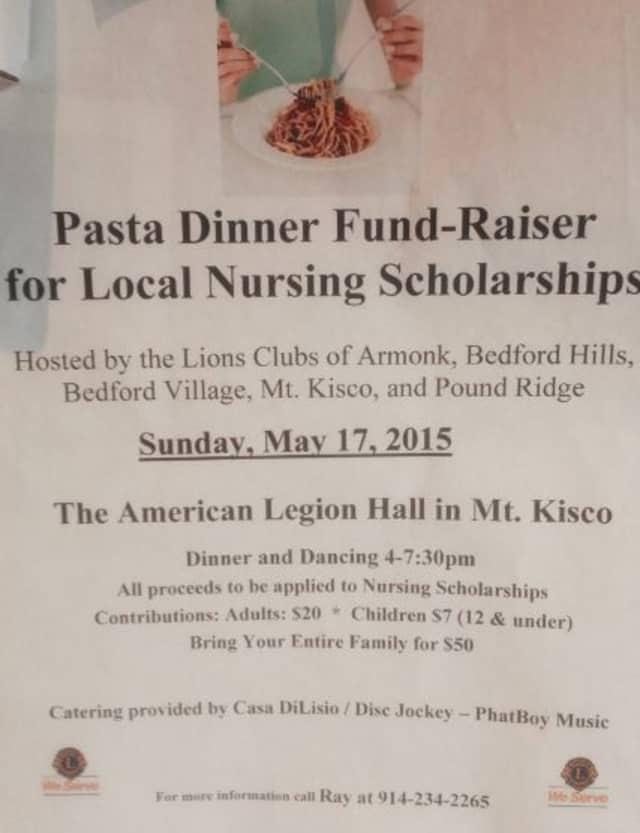 A photo of the Lions Clubs' posted event flyer for a fundraising dinner in Mount Kisco.