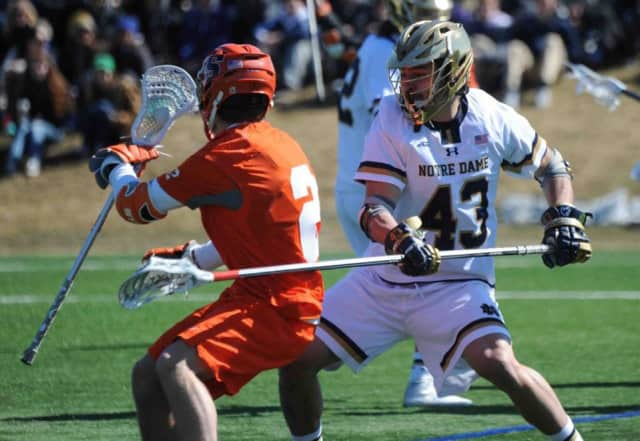 Matt Landis, a junior from Pelham, helped Notre Dame reached the NCAA men's lacrosse Final Four for the second straight year.