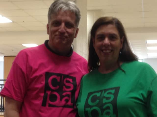 From left, voice and piano teacher Peter Frost and Carol Arruci, owner of the Cortlandt School of Performing Arts in Croton-On-Hudson, recently participated in a career day at Blue Mountain Middle School in Cortlandt.