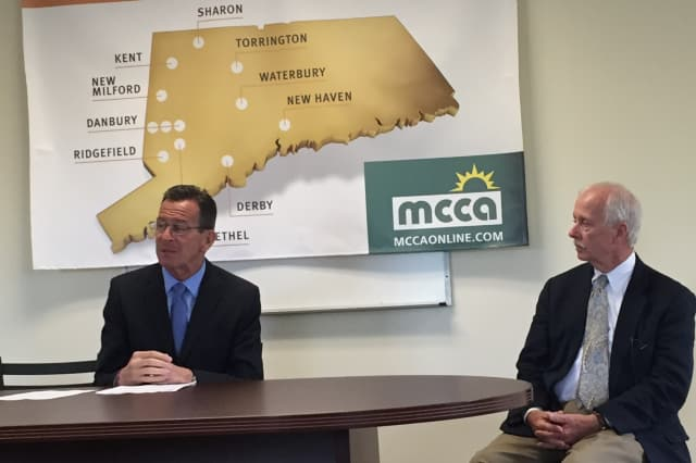 Gov. Dannel P. Malloy and Joe Sullivan, president and CEO of Midwestern Connecticut Council of Alcoholism in Danbury.