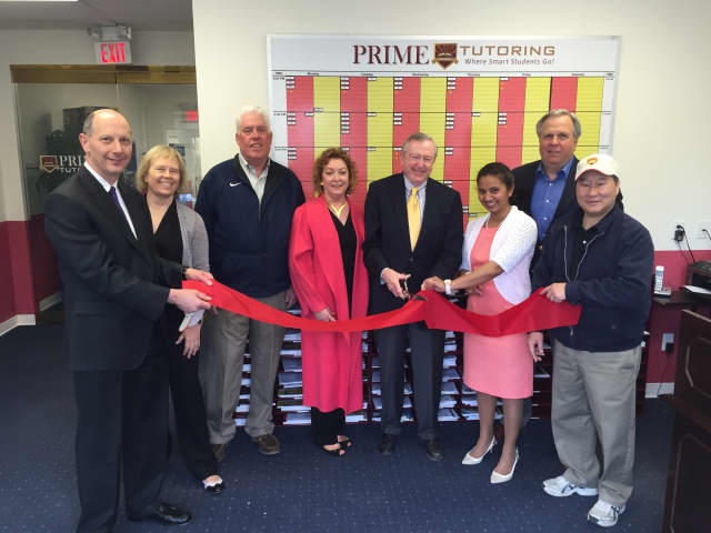The Wilton Chamber of Commerce celebrates the grand reopening of Prime Tutoring in Wilton Center.