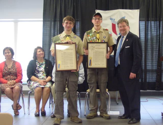 Alex Wagner and Ben Weinstein receive their Eagle Scout Awards at a recent Court of Honor ceremony.