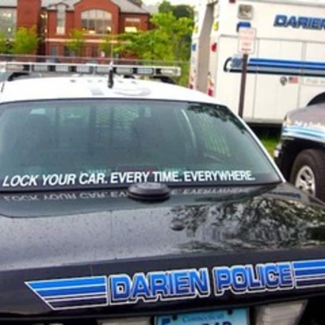 Darien police said a car that was left unlocked with the keys inside was stolen from a driveway on Rainbow Circle.