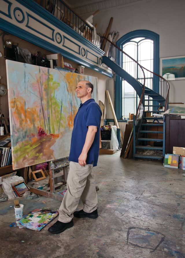 Peekskill Open Studios event founder Larry D'Amico at his studio.