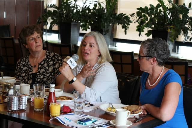 From left, Lisa Perry of the Community Health Care Association of New York State, Laura Rossi of the Westchester County Foundation, and Laura Tiedge of the Rye YMCA, spoke at the summit.