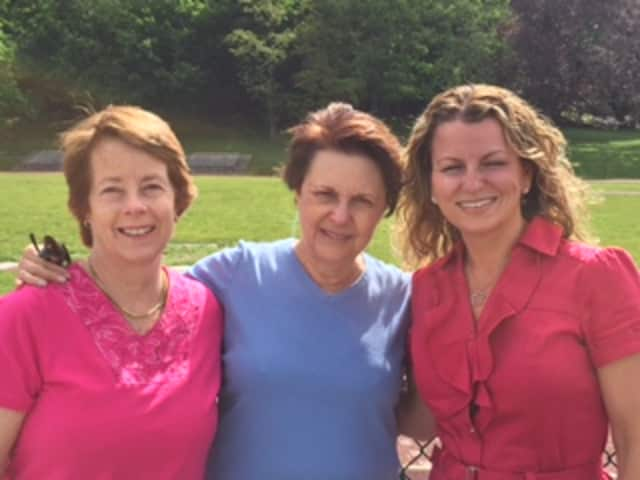 "From left, Joy Mandel, Sara Bauer, and Filomena LoRusso, are co-chairing Sunday's ""Stepping Out to Cure Scleroderma Westchester County"" inaugural walk at Irvington High School."