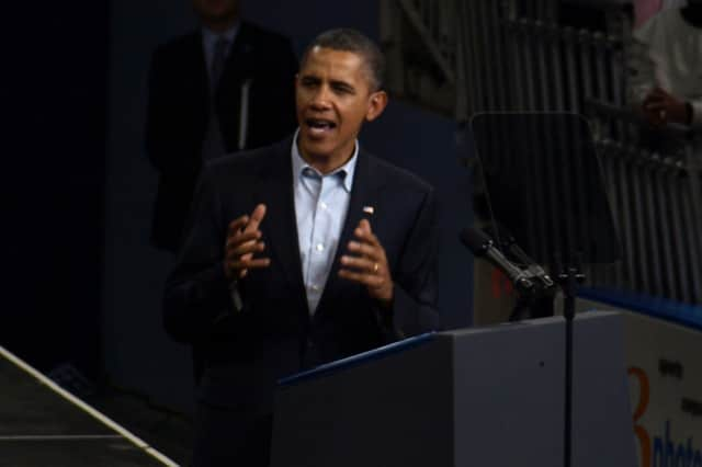 President Barack Obama campaigns in Connecticut in 2010.