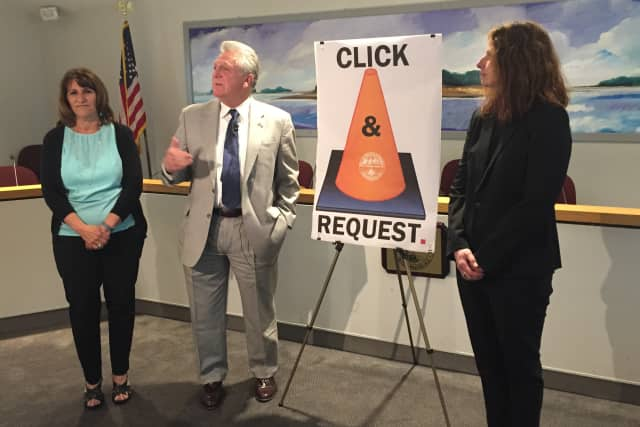 Connie Blair, Mayor Harry Rilling and Lisa Burns announce Norwalk's new Click & Request app designed to improve customer service.