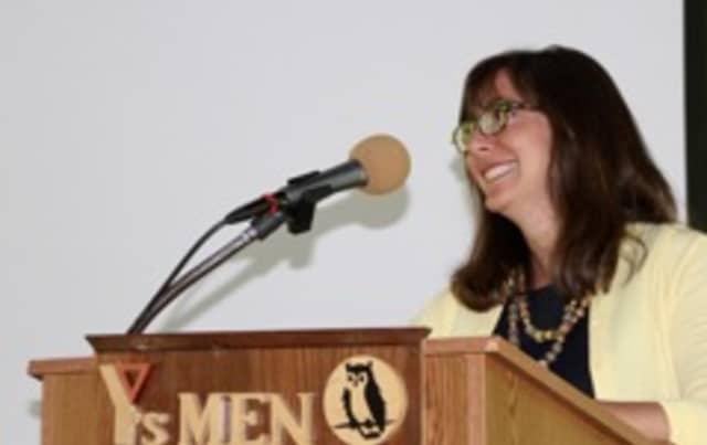 Weston First Selectman Gayle Weinstein speaks to the Y's Men of Westport and Weston.