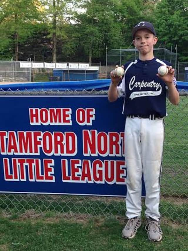 Jack Hoch hit home runs from each side of the plate for Carpentry Unlimited in a Stamford North Little League game.