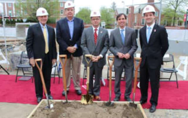 Mayor Noam Bramson attended the groundbreaking for the new residence hall at Iona College.