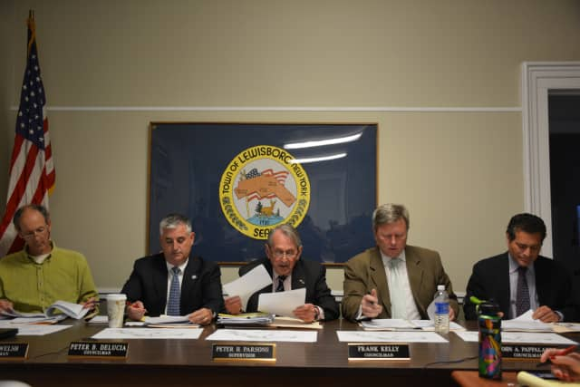 Lewisboro Town Board members at their May 18 meeting.