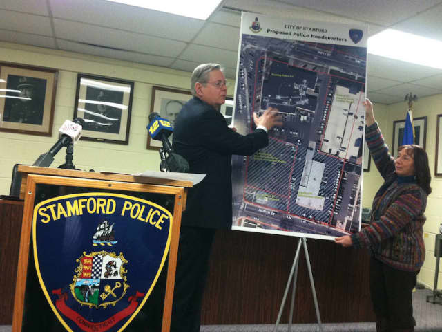 Stamford Mayor David Martin revealing plans for new police headquarters.
