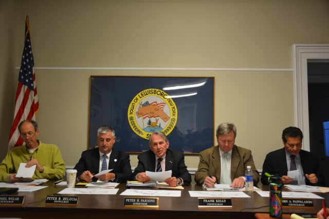 Lewisboro's Town Board at a recent meeting.