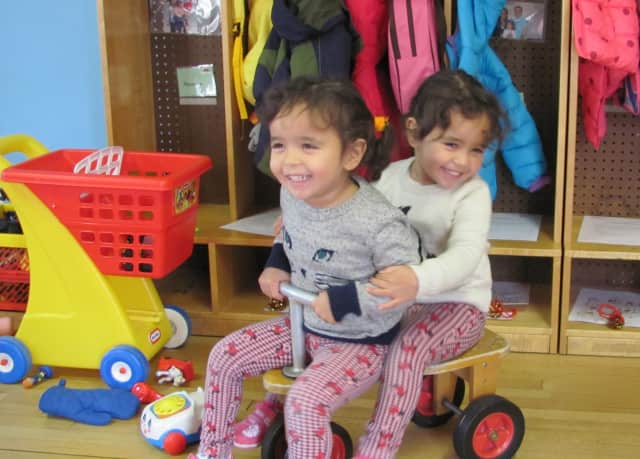 Hera and Elle Engelbrecht enjoy their time at a YW Toddler Program.