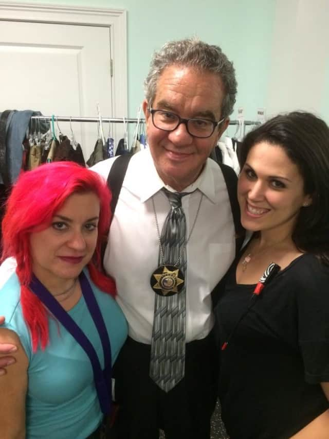 "Bruce Apar is flanked by wardrobe stylist Tanya Seeman (left) and wardrobe assistant Sara Paterno, who outfitted him for his role as a detective on the show ""Mansions and Murders."""
