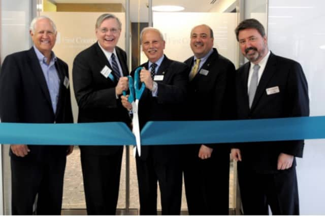 Left to right are Darrel Harvey of The Ashforth Company, Stamford Mayor David Martin, and First County Bank officials Reyno A. Giallongo, Jr., Robert J. Granata and Peter C. Rugen.