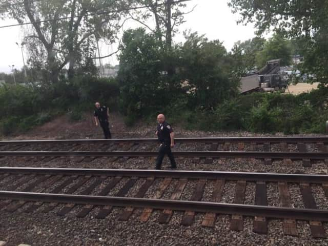 Train passenger Fred Shepard sent this photo via Twitter of police on the train tracks just east of the Fairfield Metro station.