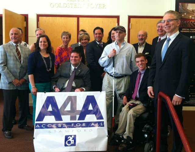 Members of the Committee on Access 4 All (A4A) pose after the unveiling of the committee Wednesday morning at the Palace Theatre.