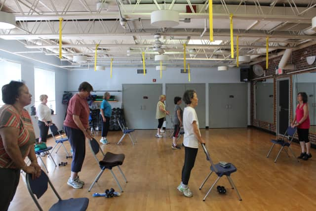Chair exercises were part of National Senior Health & Fitness Day at the Rye YMCA.