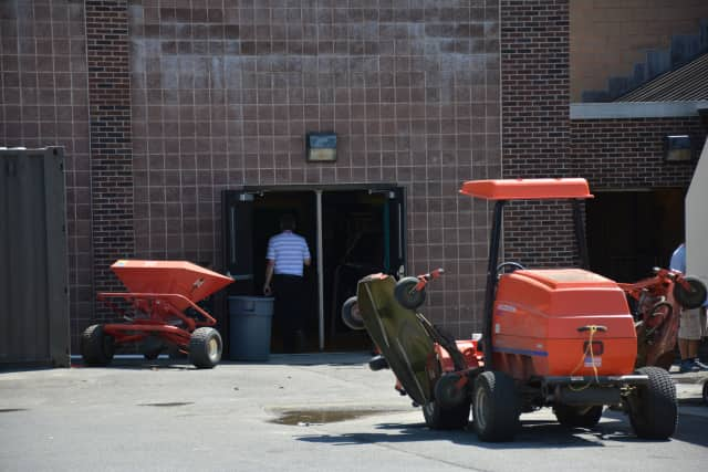 A fire was reported to have damaged a garage at Somers High School.